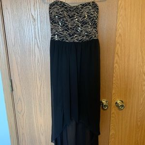Strapless High-Low Black and Gold Dress